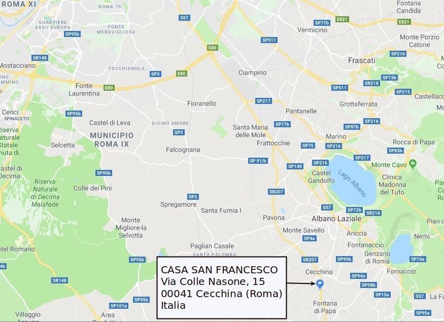 PILGRIM'S HOUSE Casa San Francesco - Cecchina (Rome) - maps